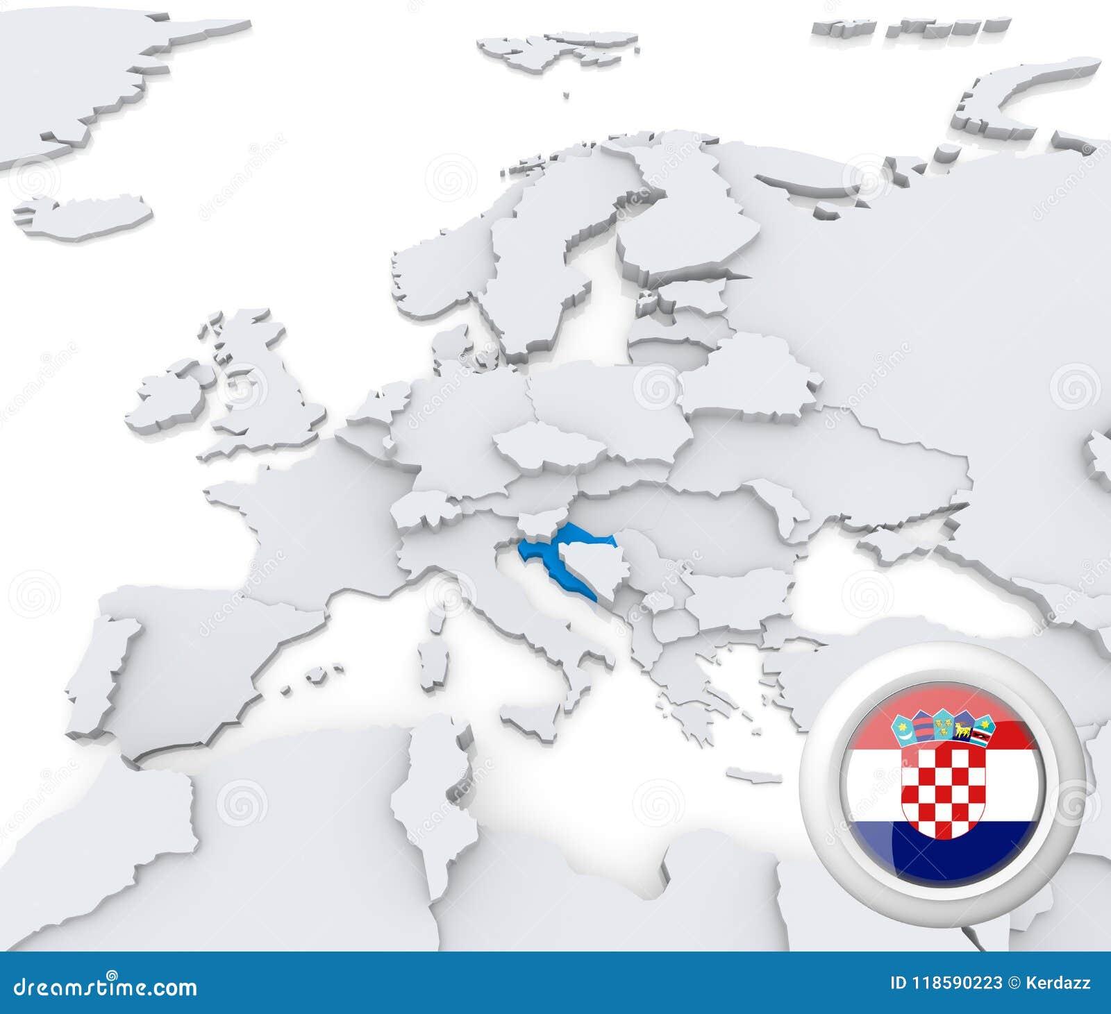 Croatia On Map Of Europe Stock Illustration Illustration Of Emblem