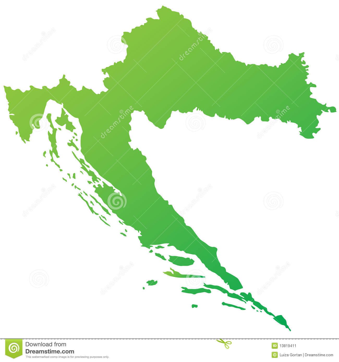 Croatia Map Highly Detailed Green Vector Stock Vector - Illustration ...