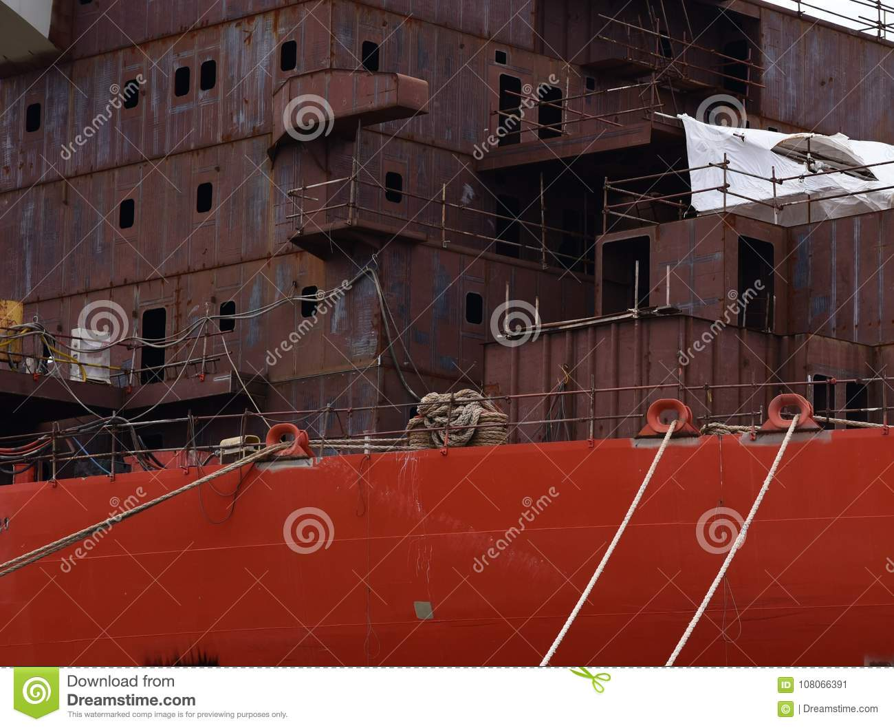 Th contraction of large ship in the port in the city of Pula.Croatia