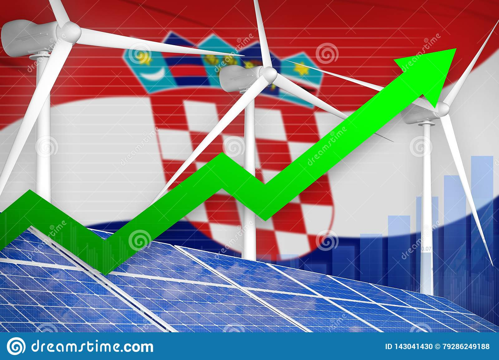 Croatia solar and wind energy rising chart, arrow up - modern natural energy industrial illustration. 3D Illustration