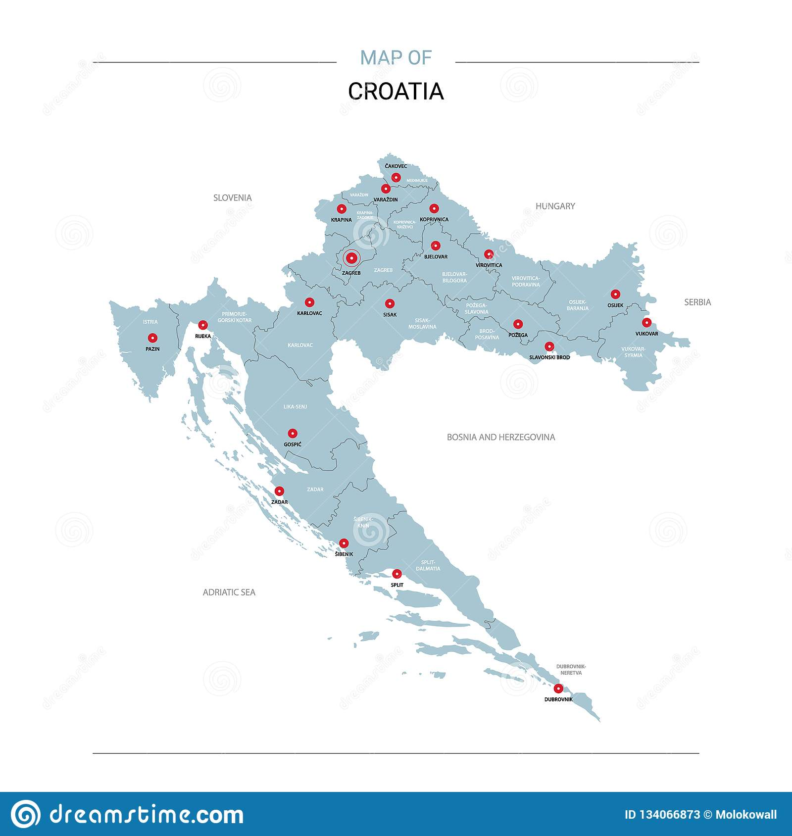 Croatia Map Vector With Red Pin Stock Vector - Illustration of ...