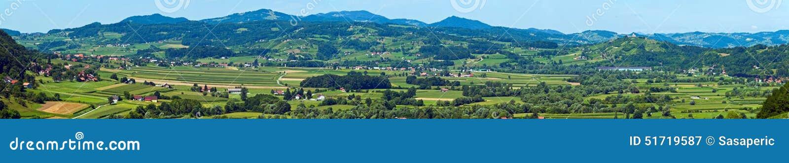 Croatian Zagorje landscape panorama