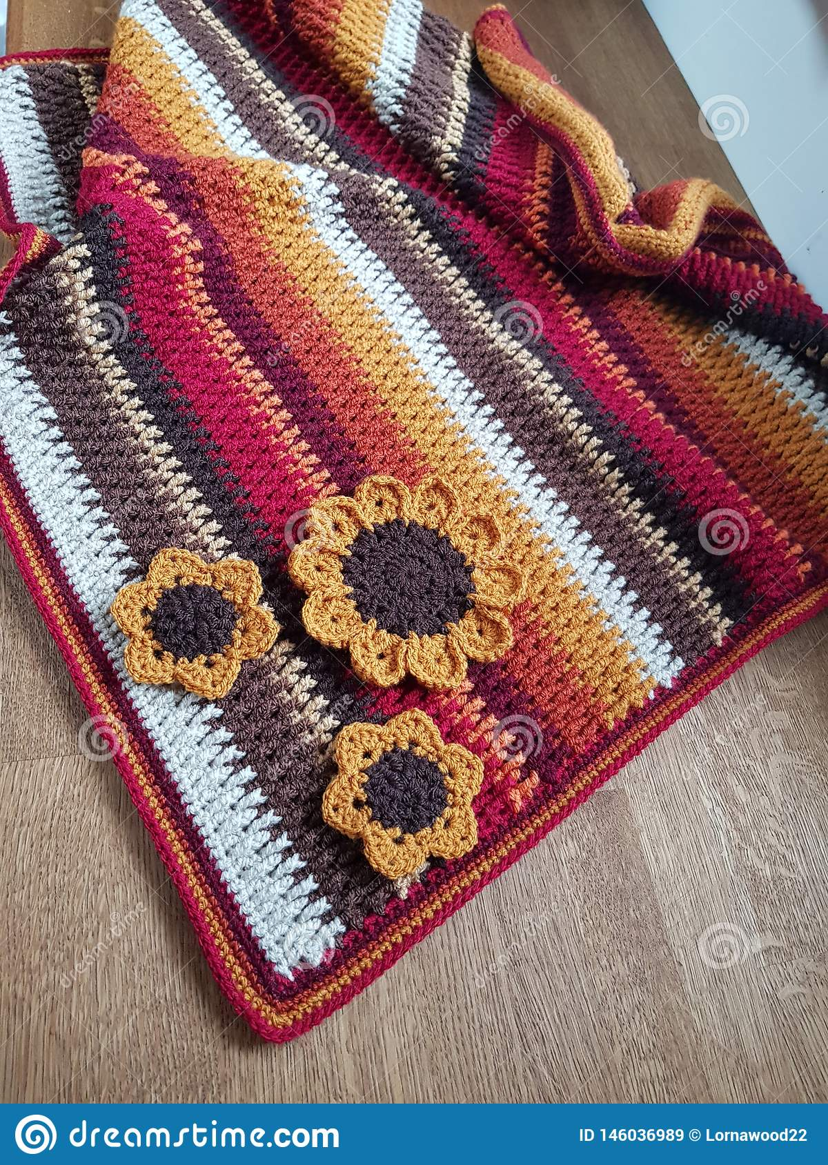 Crochet Autumn Blanket, textured