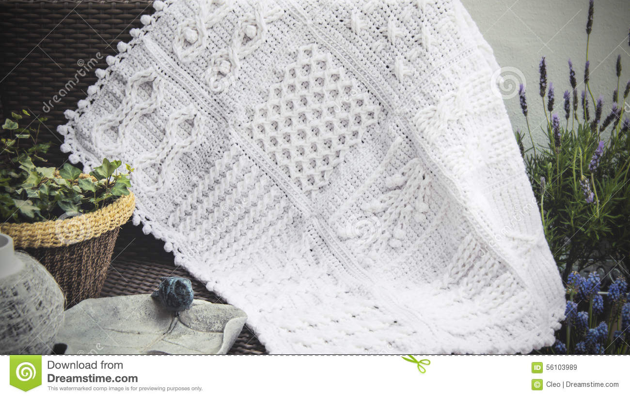 Crochet Cable Knit Afghan Baby Blanket In White Stock Image Image