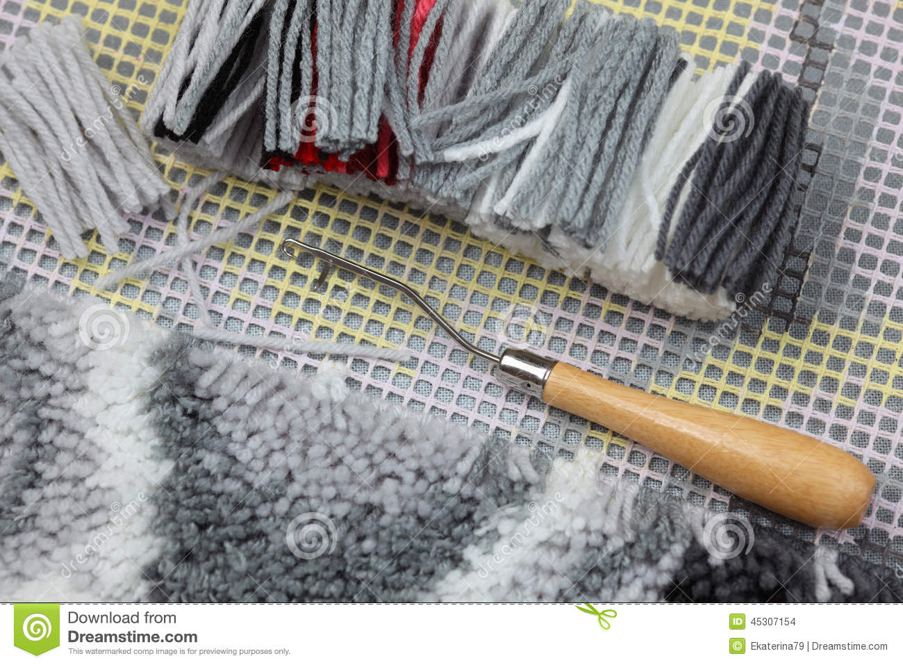 Crochet De Verrou Tissage Fait Main De Tapis Photo Stock