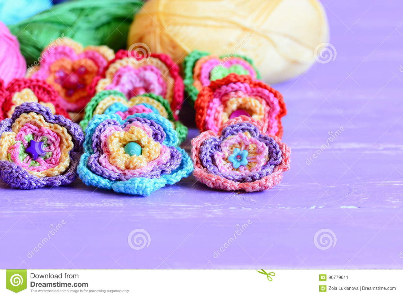 Crochet Flowers Embellished With Buttons And Beads Beautiful