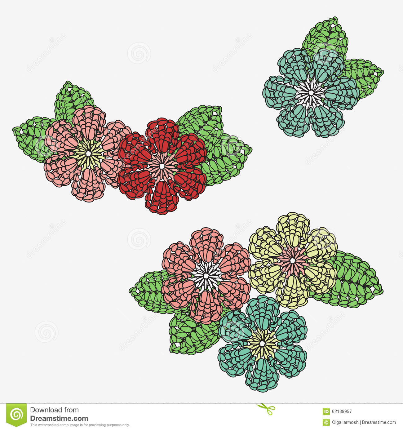 Crochet Flowers With Leaves. Stock Illustration - Illustration of ...