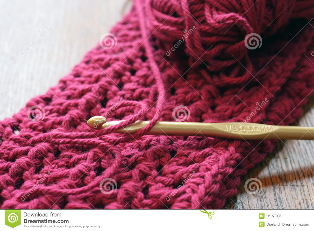 Crocheting Yarn : crochet hook and yarn that has been crocheted into a double ...
