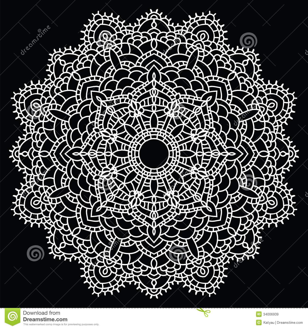 Crocheting Vector : ... handmade knitted doily. Round lace pattern. Vector illustration