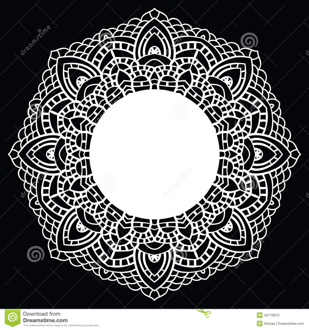 Crochet Patterns Vector : ... handmade knitted doily. Round lace pattern. Vector illustration