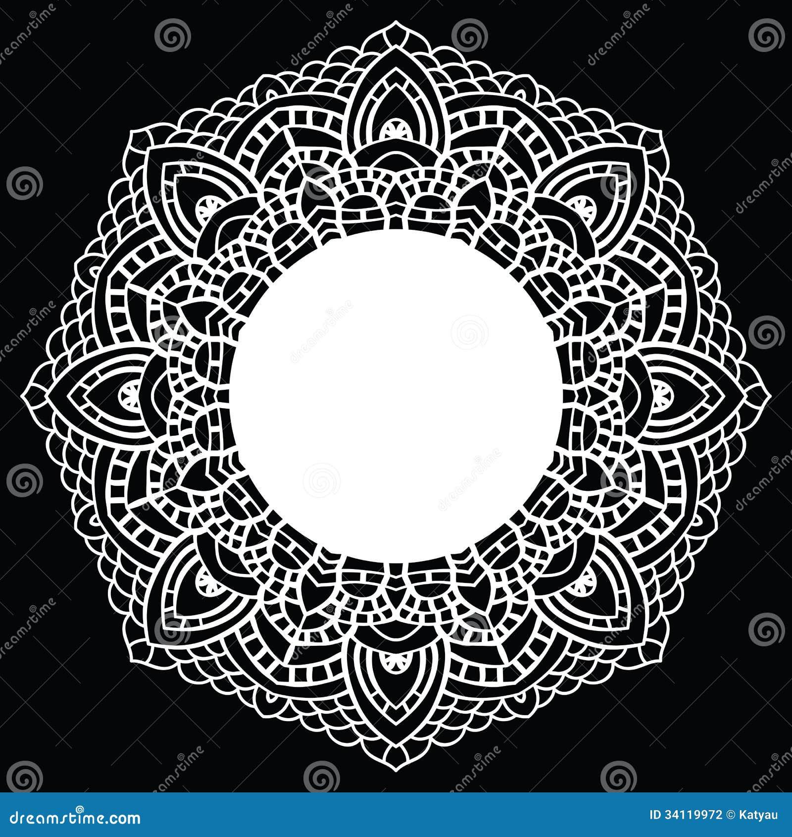 Crochet Patterns Vector : Crochet Lace Mandala. Stock Photography - Image: 34119972