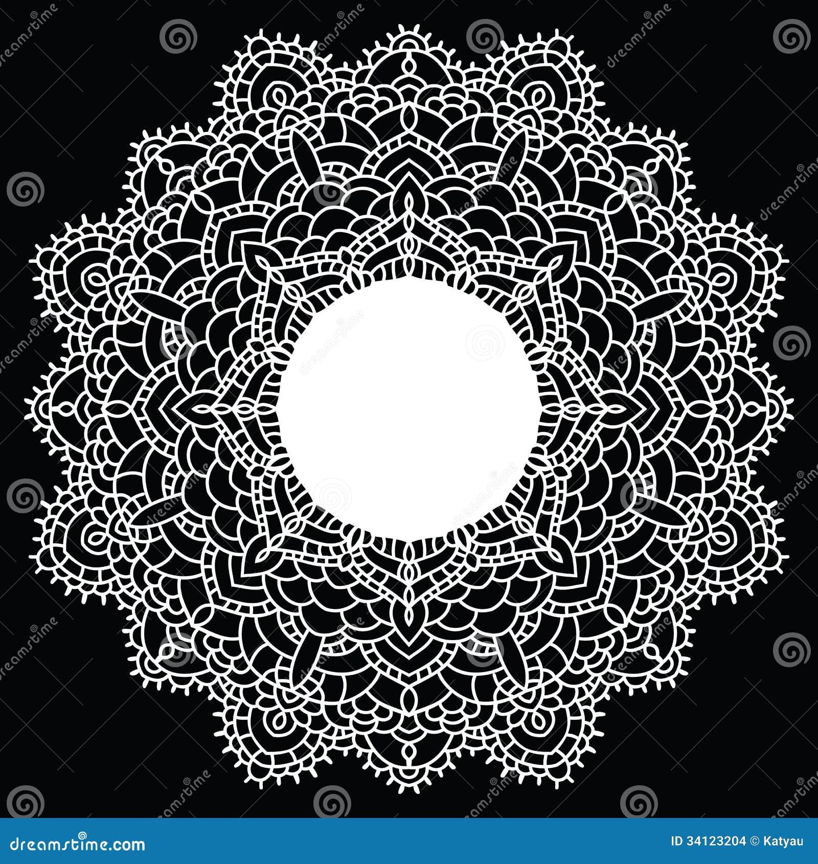 Crochet Patterns Vector : Crochet Lace Mandala. Stock Images - Image: 34123204