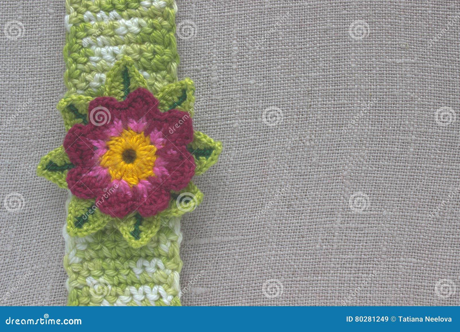 Crochet Lotus Flower On The Natural Ecological Linen Cloth Vintage