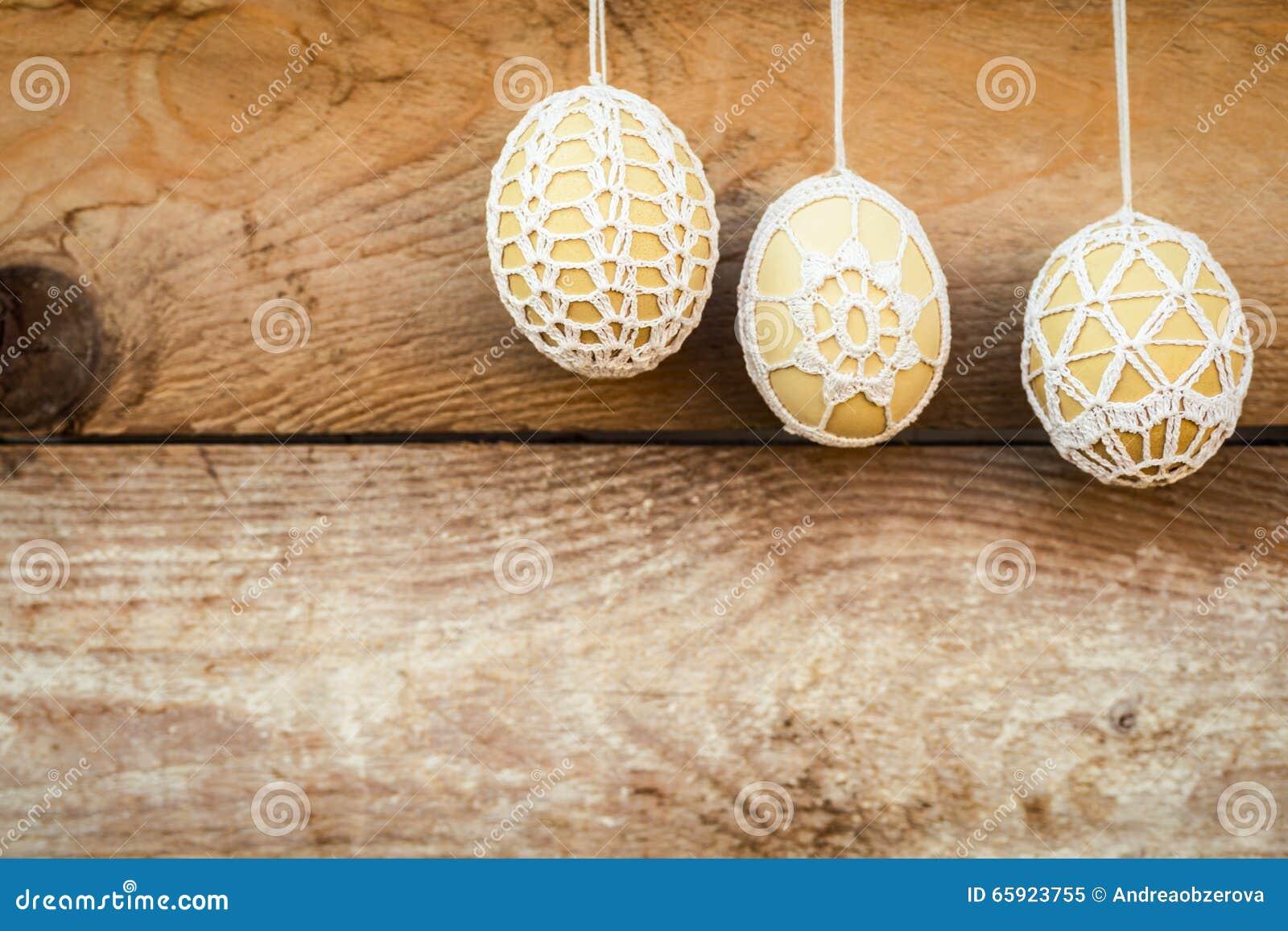 Crochet Pattern Easter Eggs Stock Image