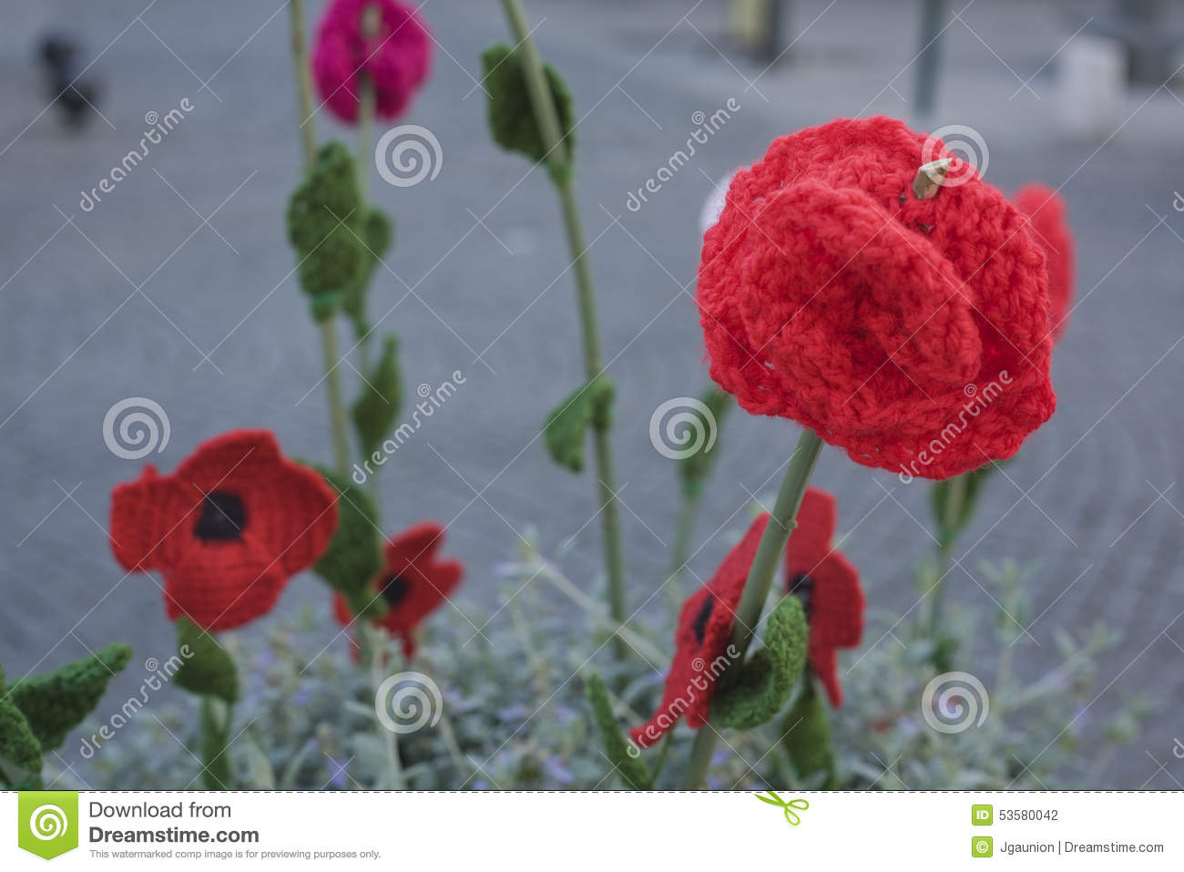 Crochet Poppy Stock Photo Image Of Colorful Craft Flowers 53580042