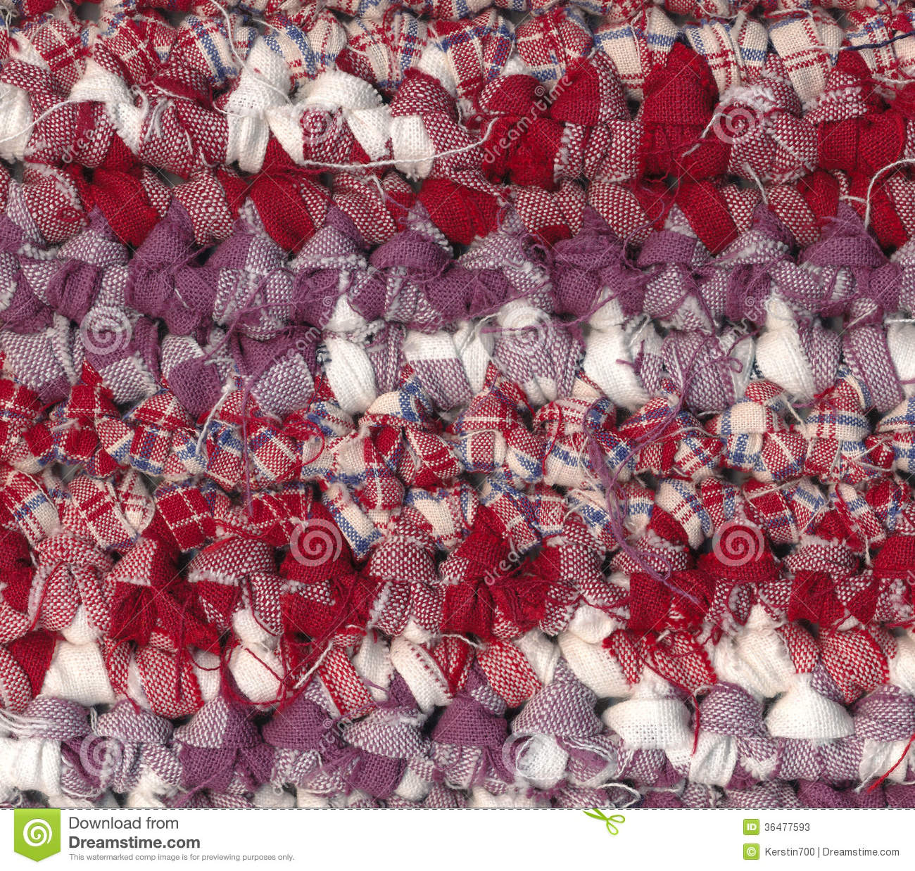 Xl Rag Rug: Crochet Rag Rug In Red, White And Purple Shades Stock