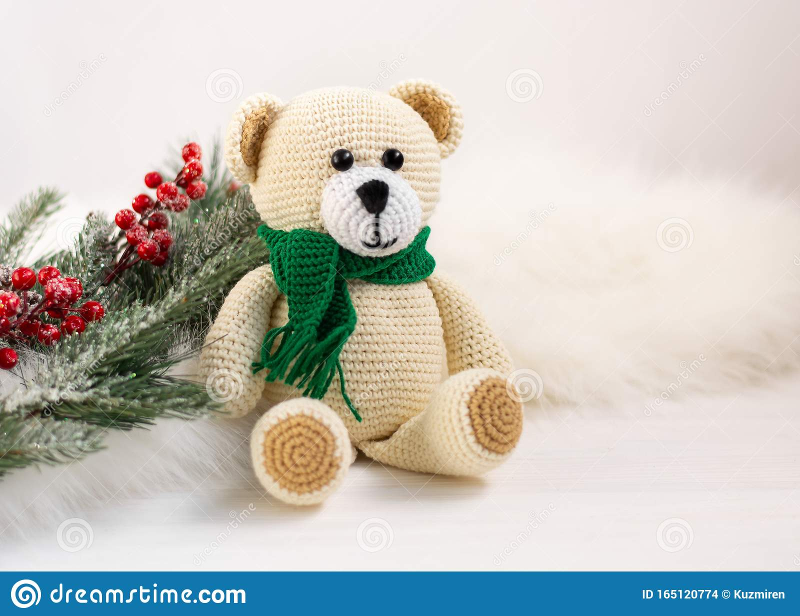 Kids toys Crochet amigurumi teddy bear in the scarf and hat ... | 1232x1600