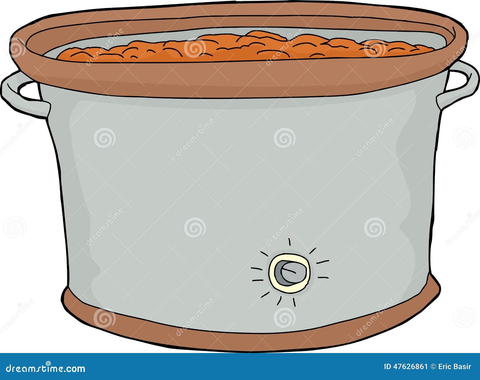 Cartoon Electric Cooker ~ Crock pot with food stock vector image