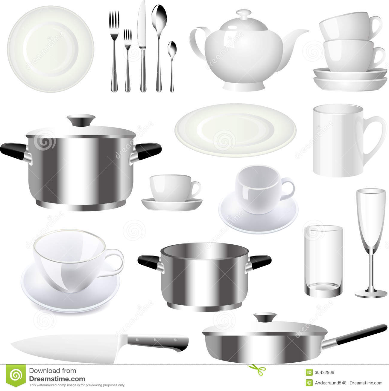 Crockery and kitchen ware set royalty free stock image for Art cuisine evolution 10 piece cooking set