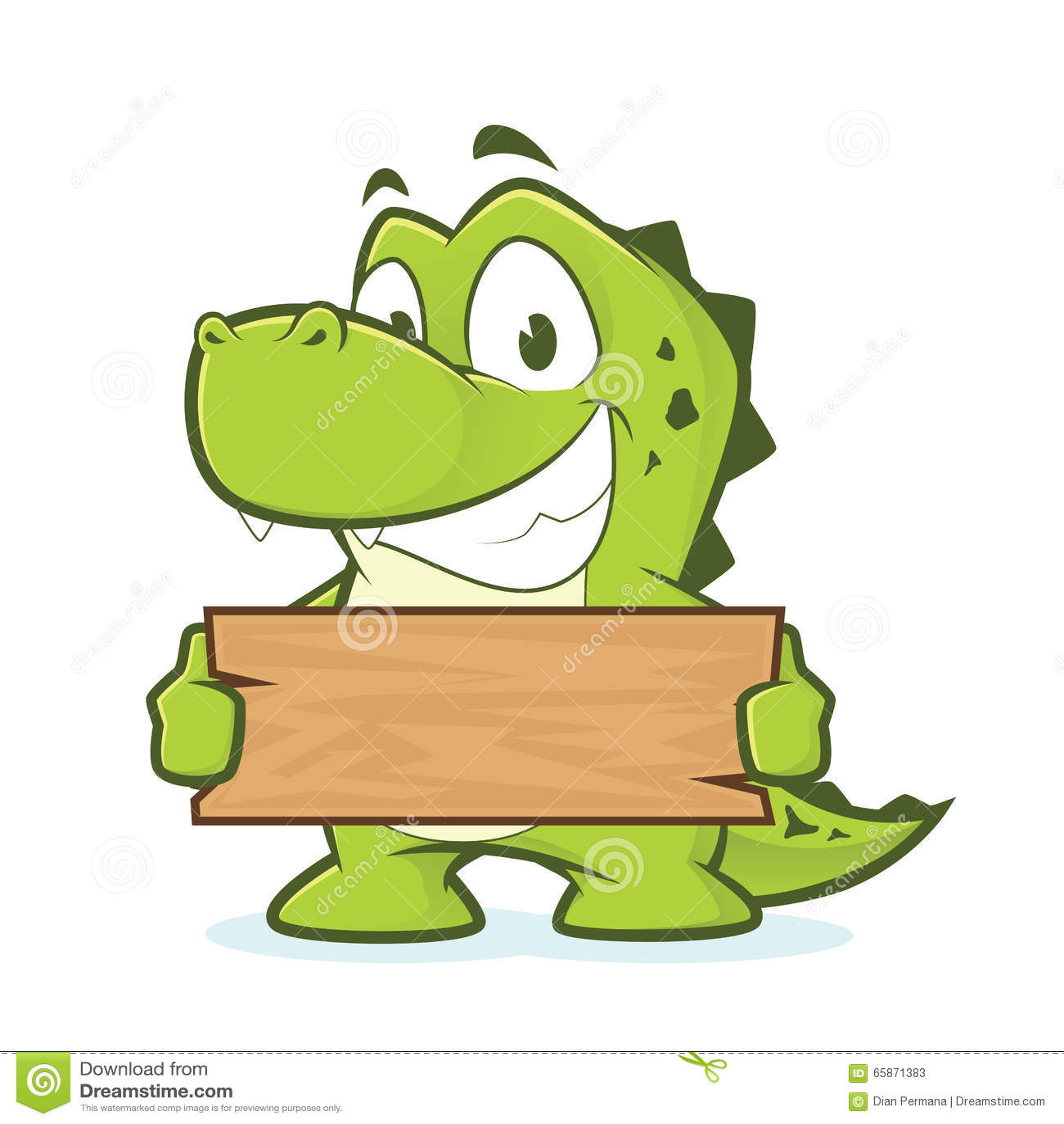 Crocodile or alligator holding a plank of wood stock vector illustration of happy green 65871383 - Crocodile dessin ...