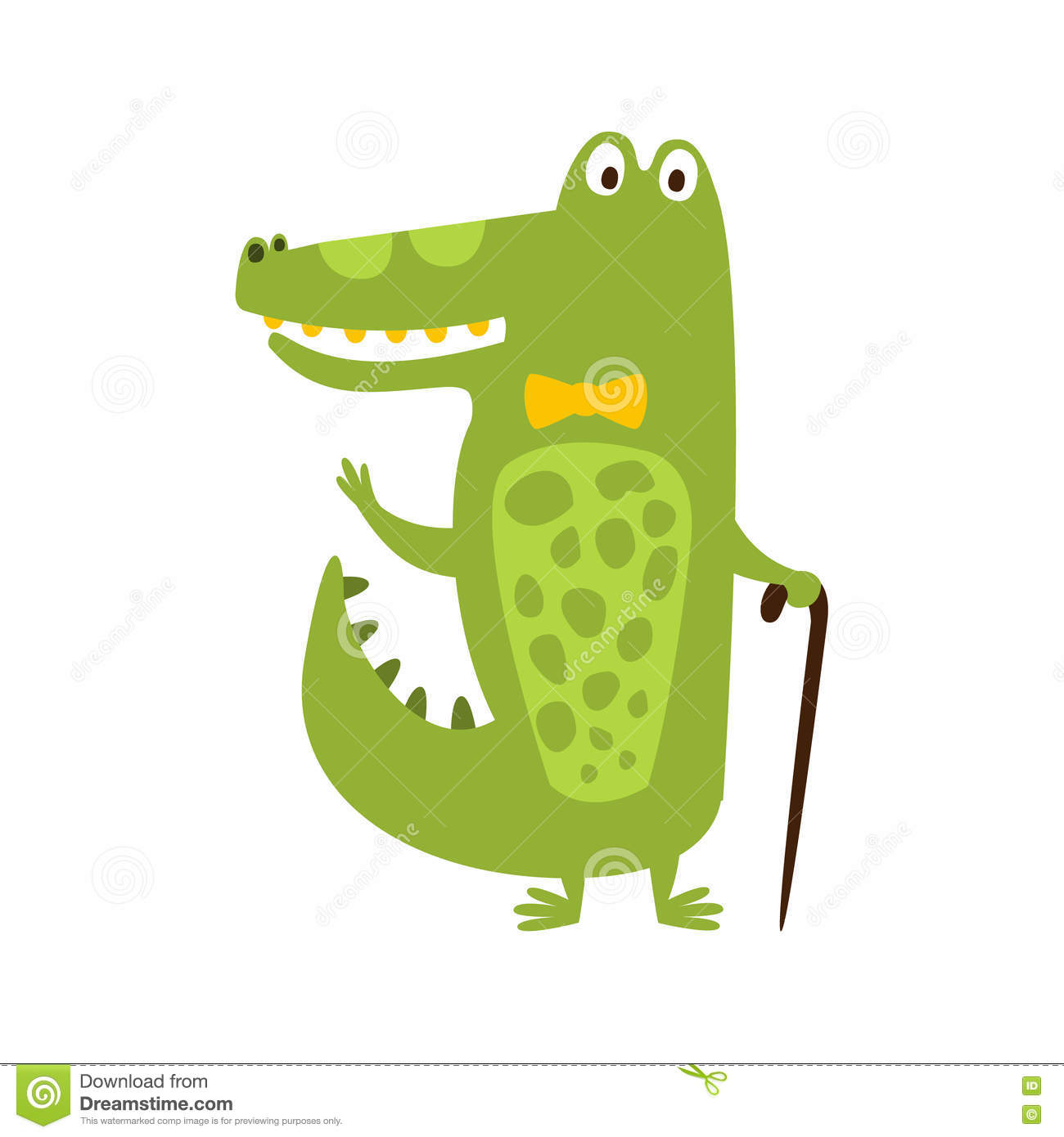 Crocodile With Bow Tie And Cane Flat Cartoon Green Friendly Reptile Animal Character Drawing