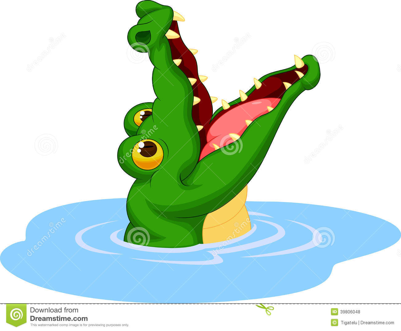 Crocodile Cartoon Open Its Mouth Stock Vector - Image: 39806048