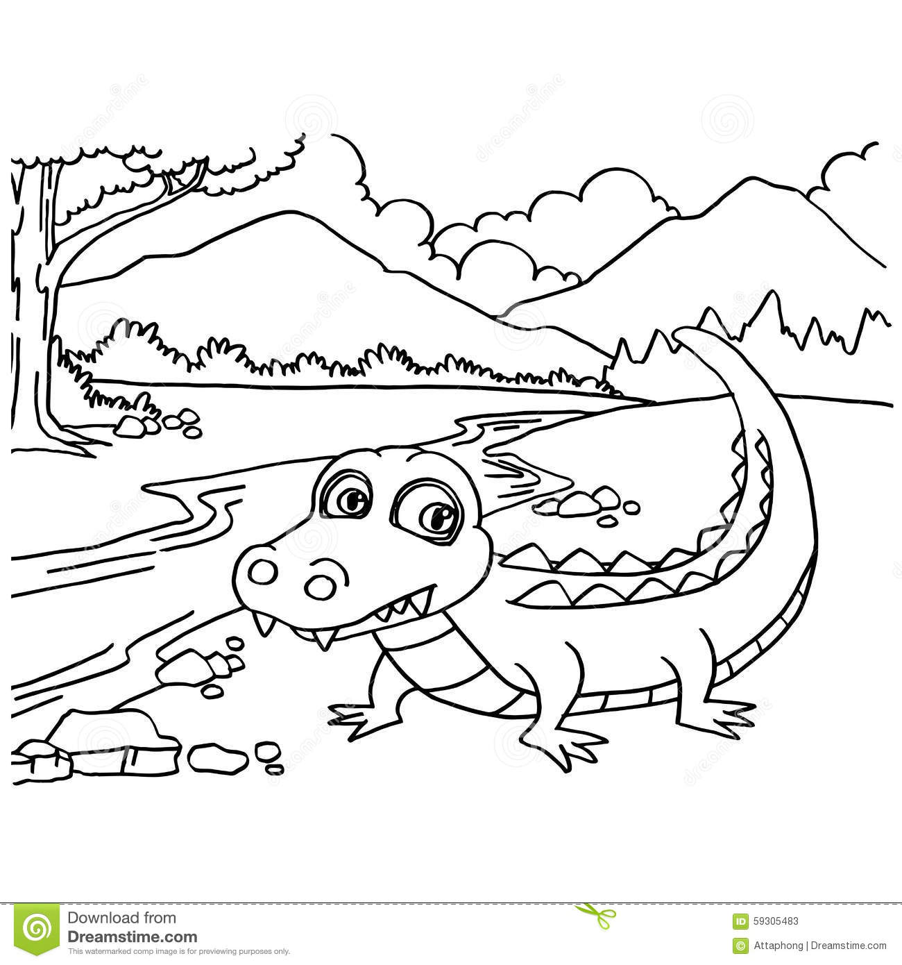 Crocodile Coloring Pages Vector Stock Vector - Illustration of comic ...