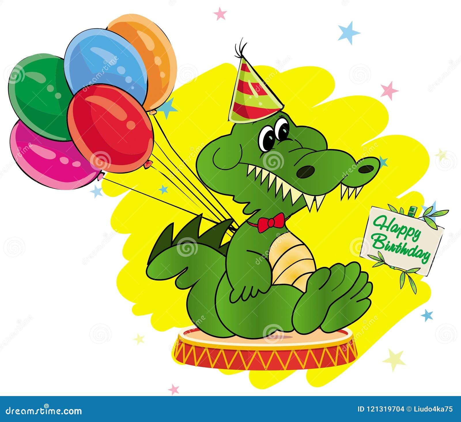 Crocodile De Bande Dessinée De Carte De Voeux Avec Des Ballons