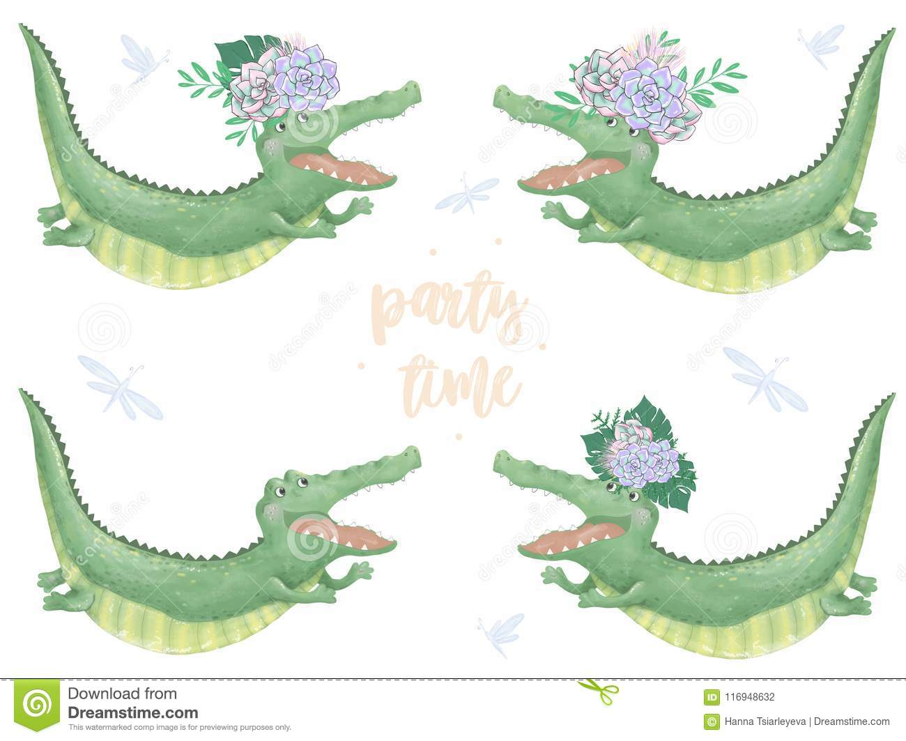 Crocodile Digital Clip Art Cute Animal And Flowers Flying Croc Party Time Text