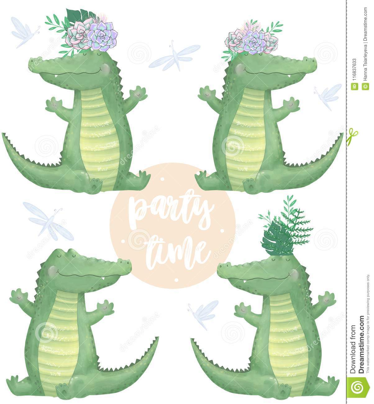 Crocodile Digital Clip Art Cute Animal And Flowers Party Time Text Greeting Celebration Birthday