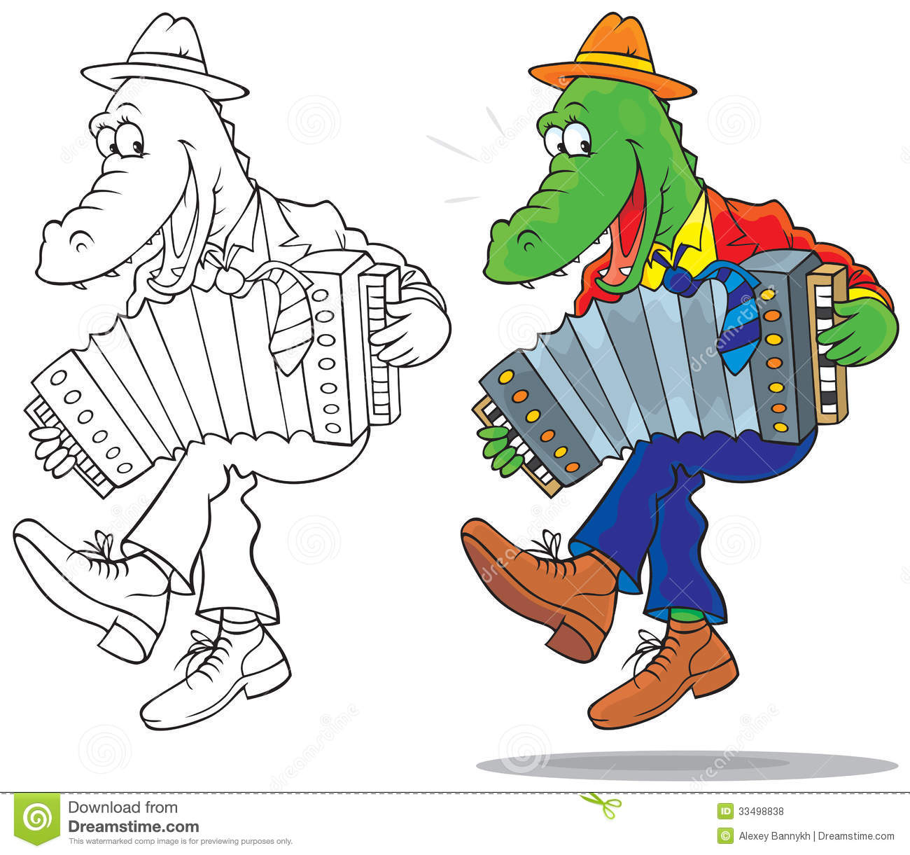 Funny Crocodile Dancing And Playing An Accordion Color Black and