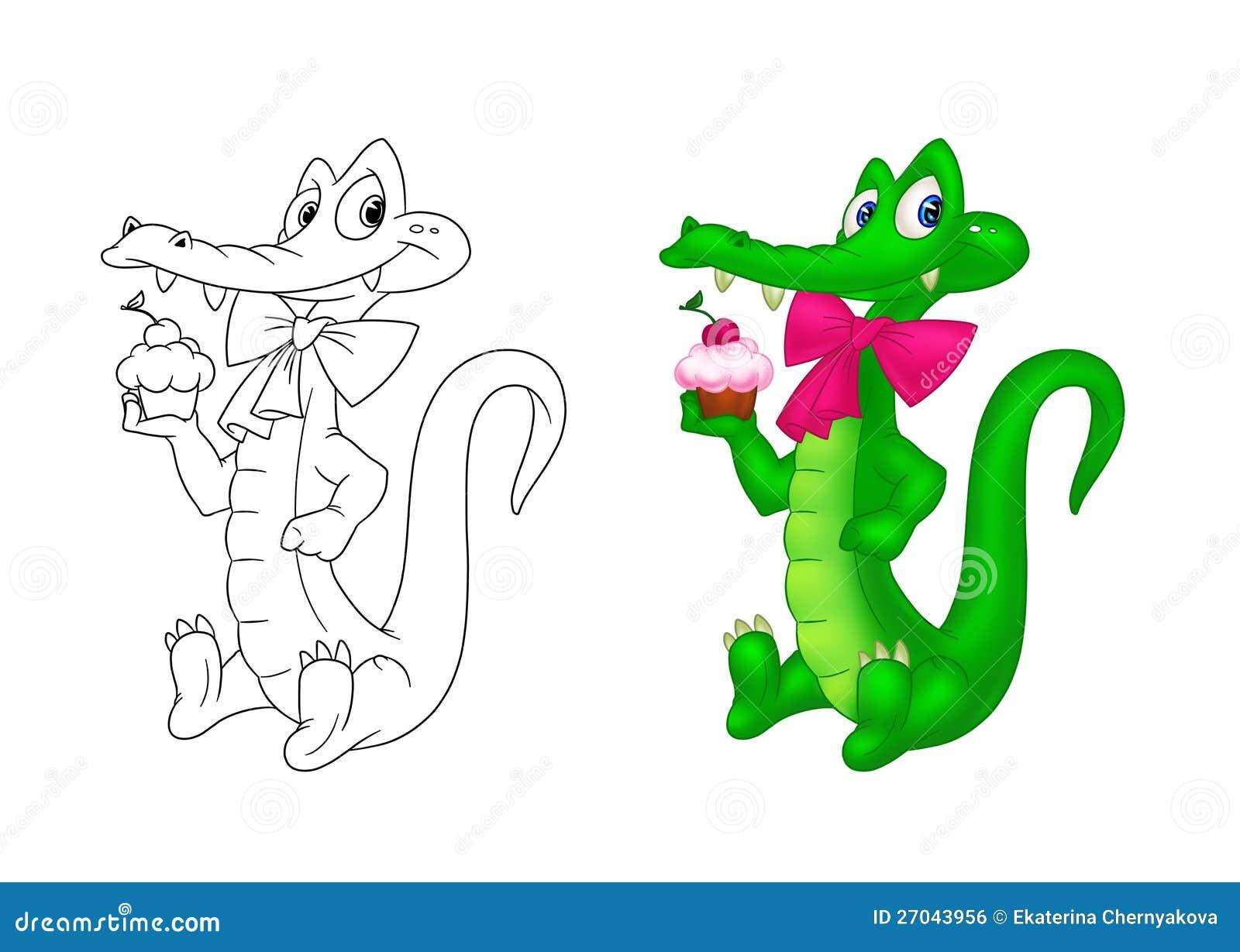 Crocodile Holiday Coloring Page Cartoon Royalty Free Stock Image