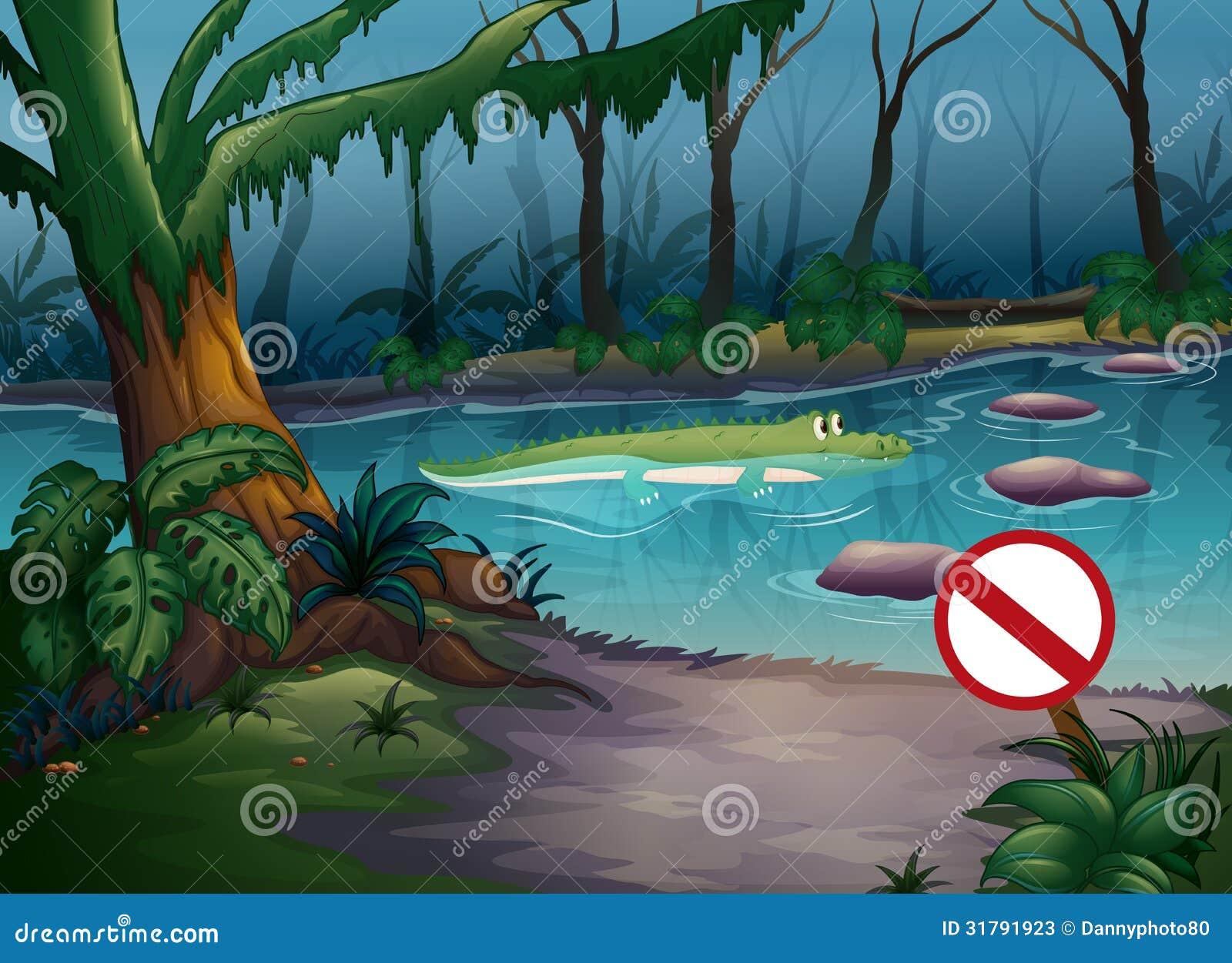 A crocodile in the jungle