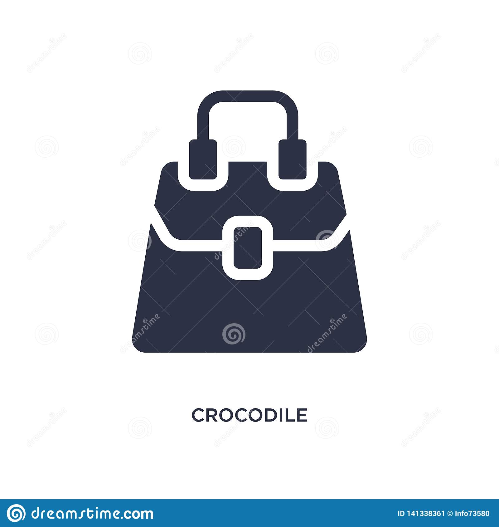 crocodile leather bag icon on white background. Simple element illustration from culture concept