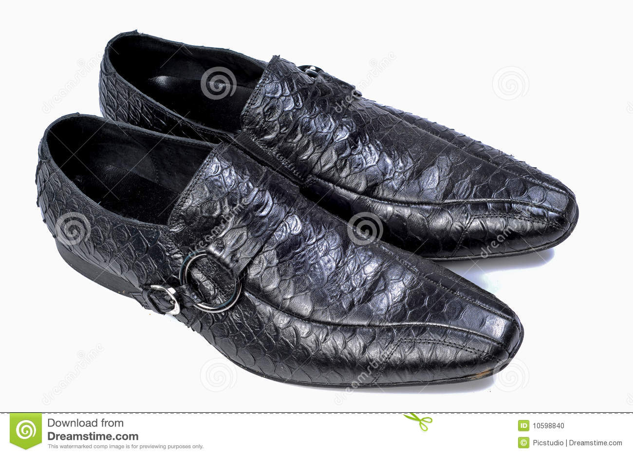 Crocodile Leather Black Formal Shoes Stock Photo Image