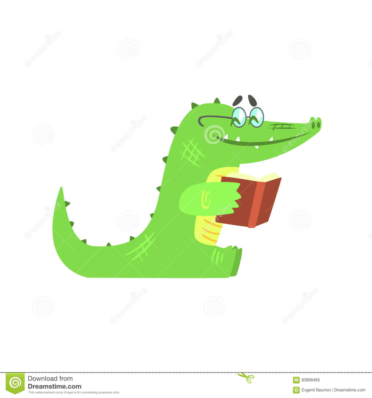 crocodile reading a book   humanized green reptile animal character every day activity stock