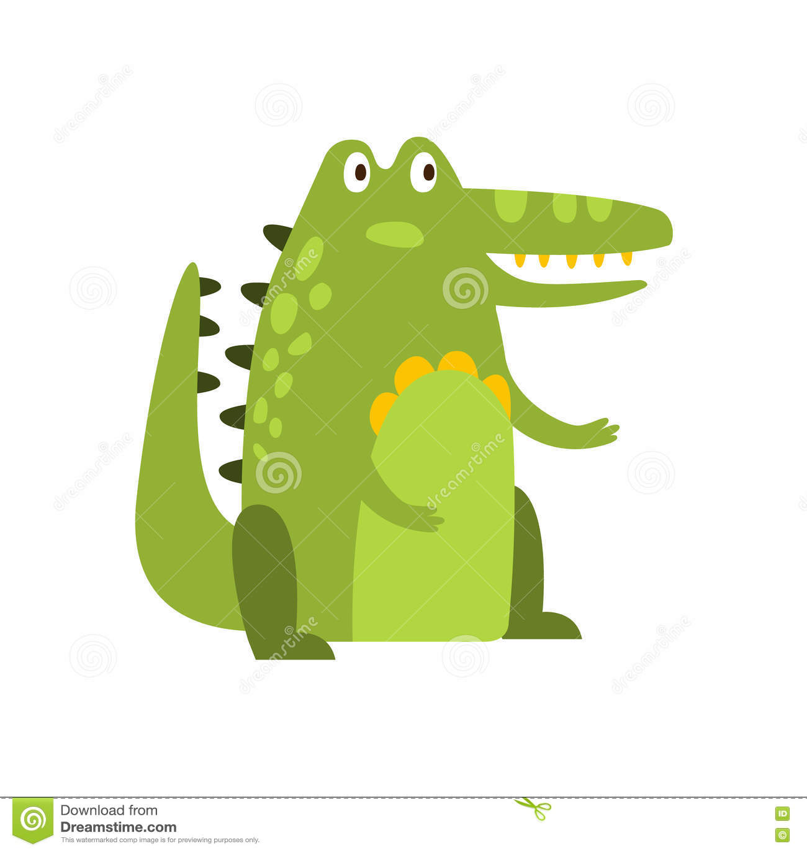 crocodile sitting straight like man flat cartoon green friendly