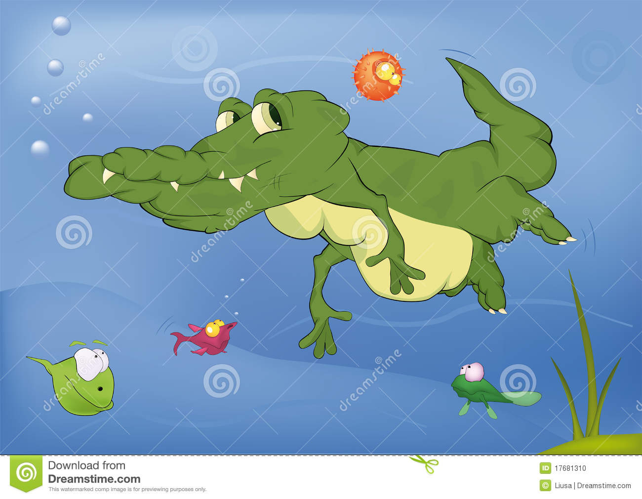 Crocodile and small fishes