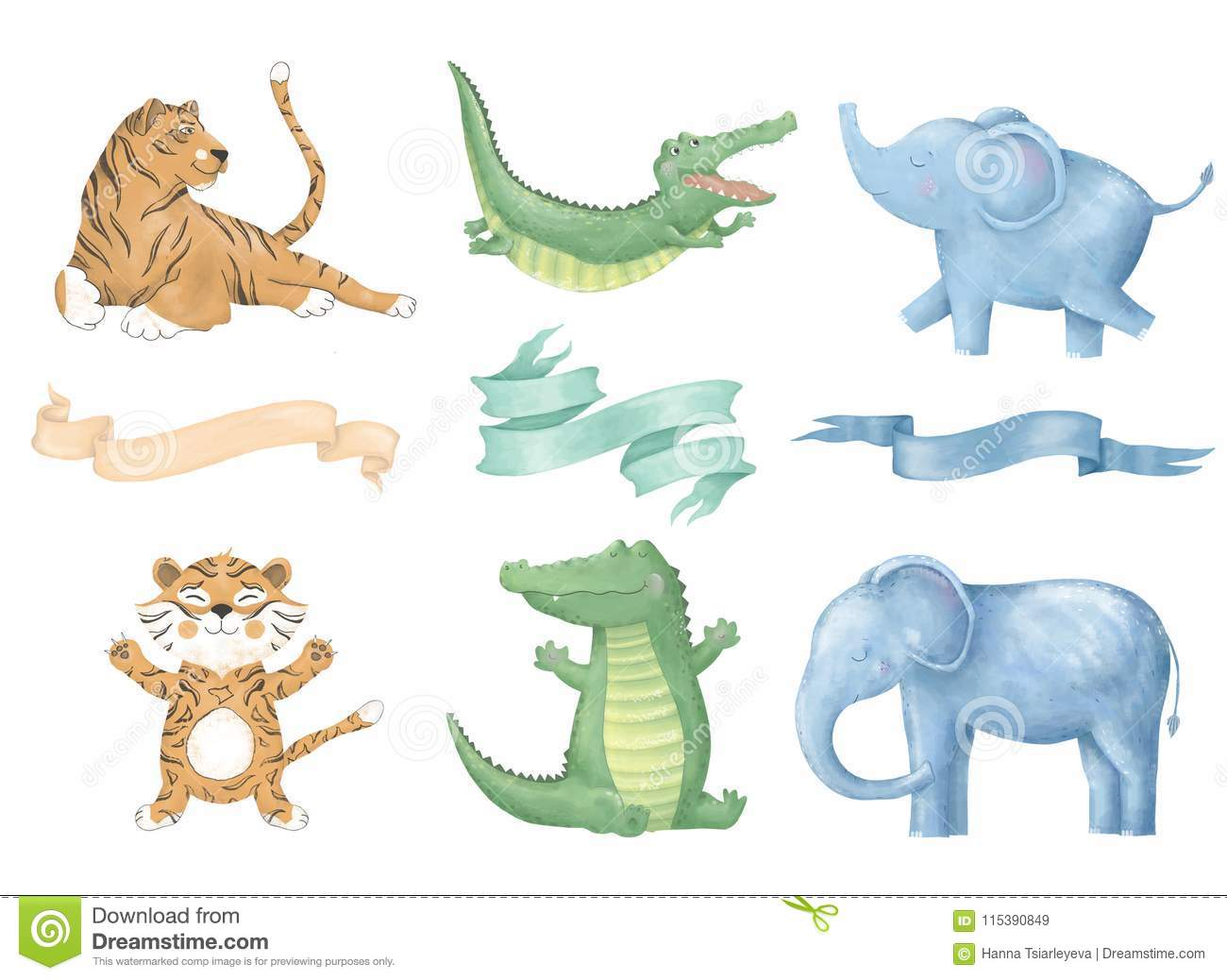 Crocodile tiger elephant digital clip art cat with ribbons cute animal and flowers for card, posters, on white