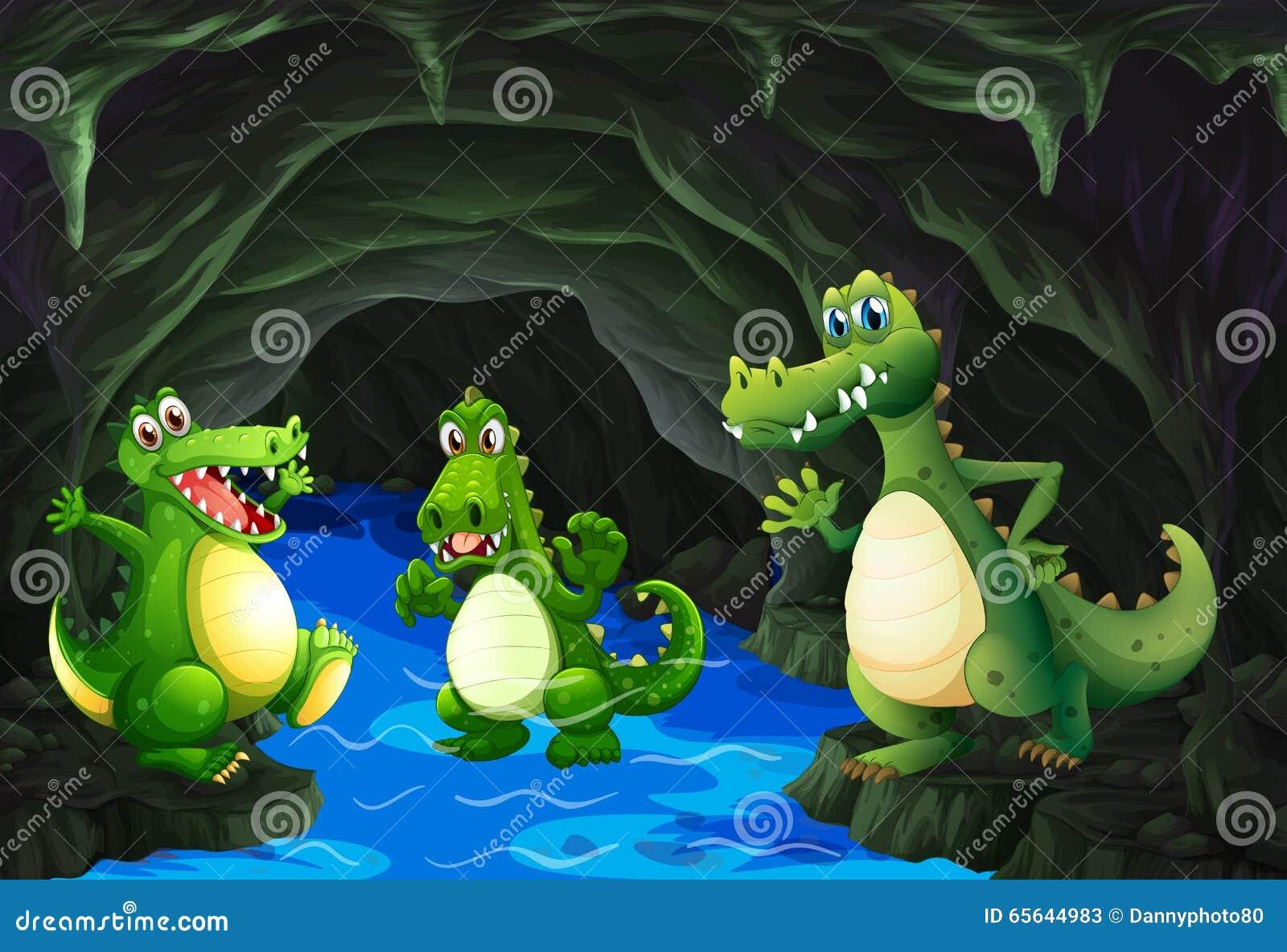Crocodile trois vivant dans la caverne