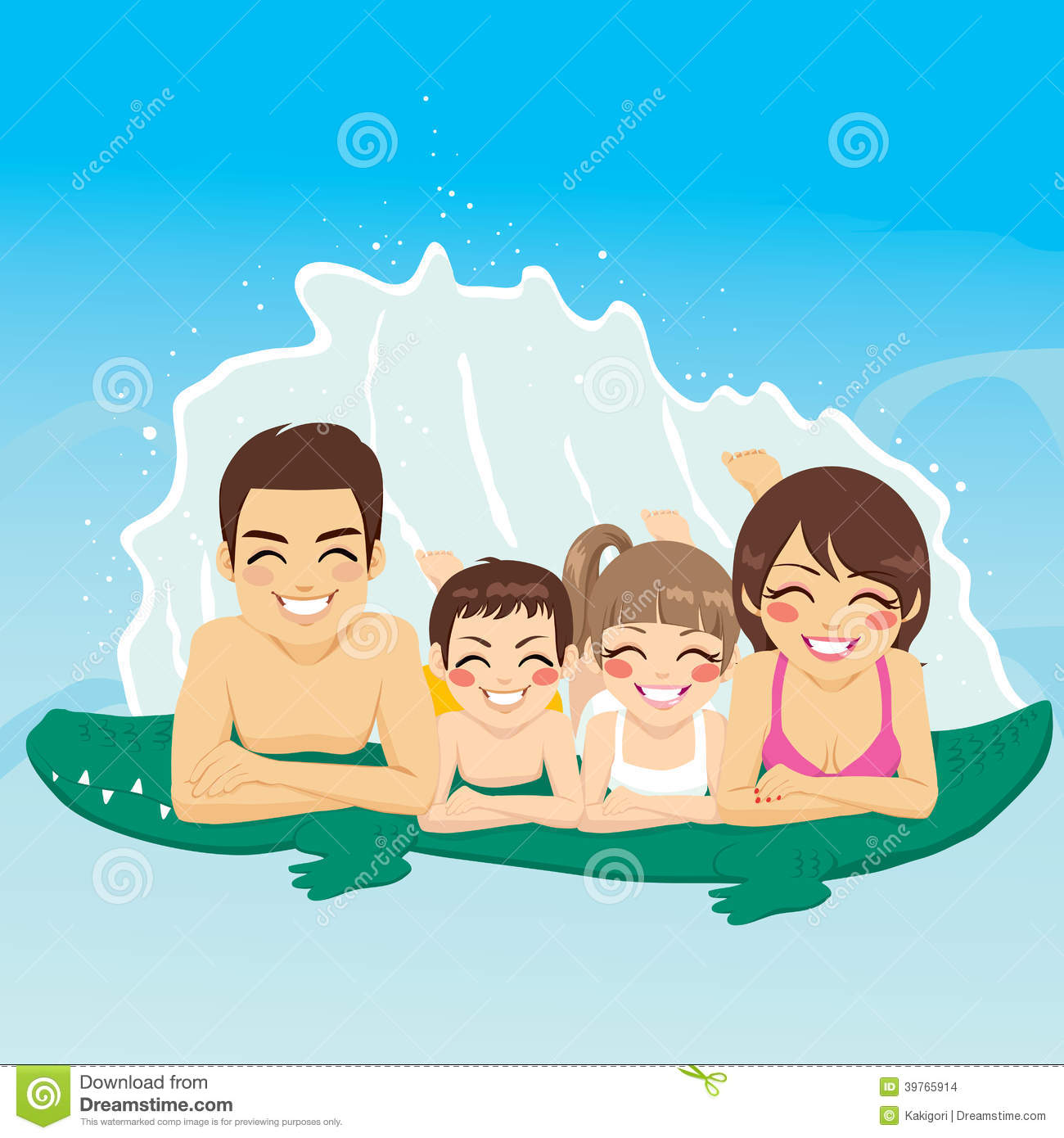 Young Happy Beautiful Family Playing Together On The Beach: Crocodile Tube Family Vacation Stock Vector