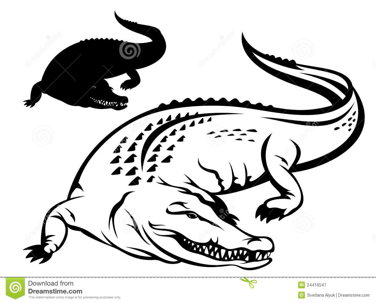 Crocodile vector stock vector. Illustration of dangerous - 24416547 for Clipart Crocodile Black And White  557yll