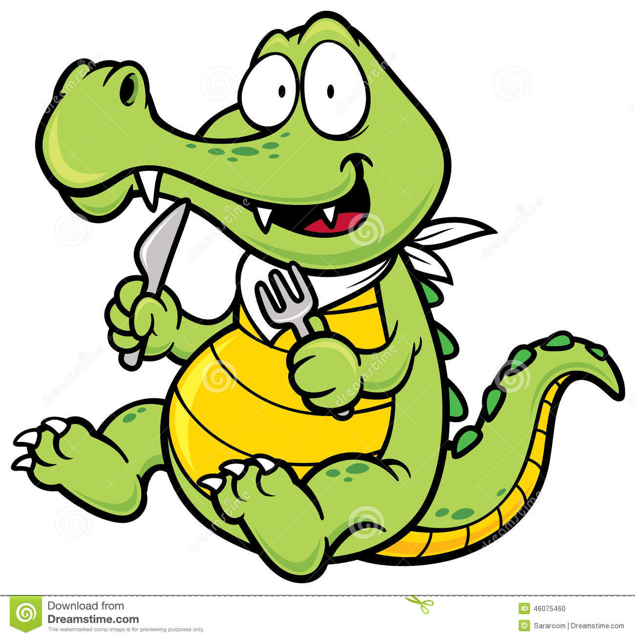 Vector illustration of Cartoon crocodile.
