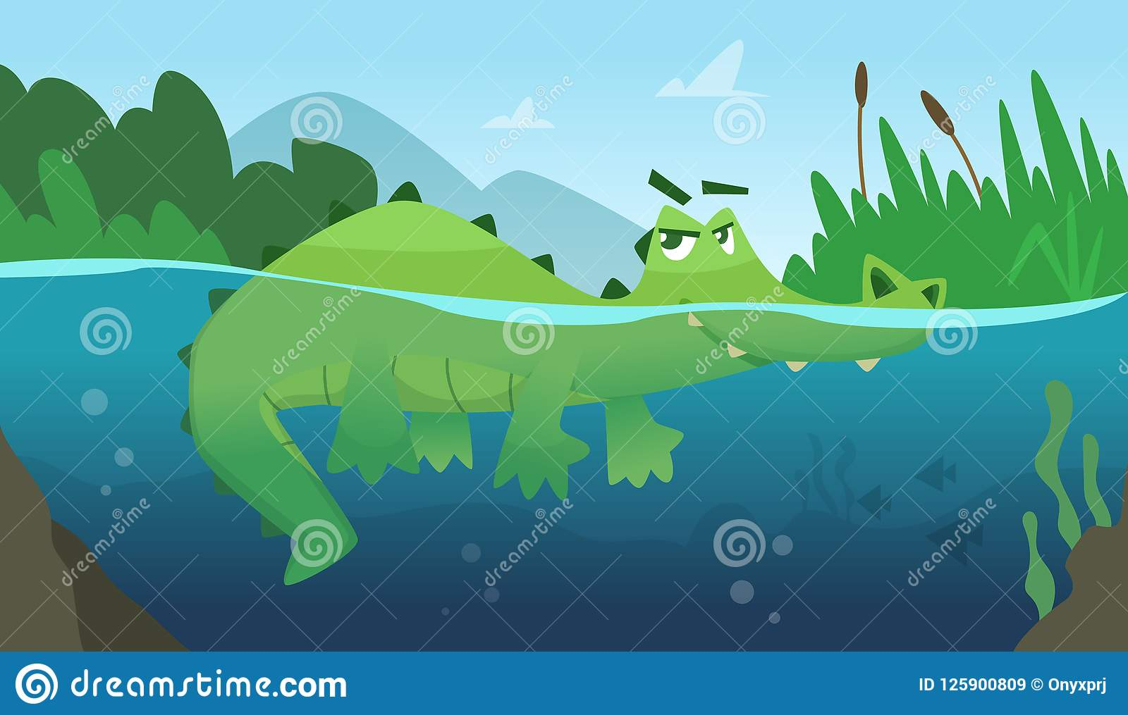 Crocodile in water. Alligator amphibian reptile wild green angry wild animal swimming vector cartoon background