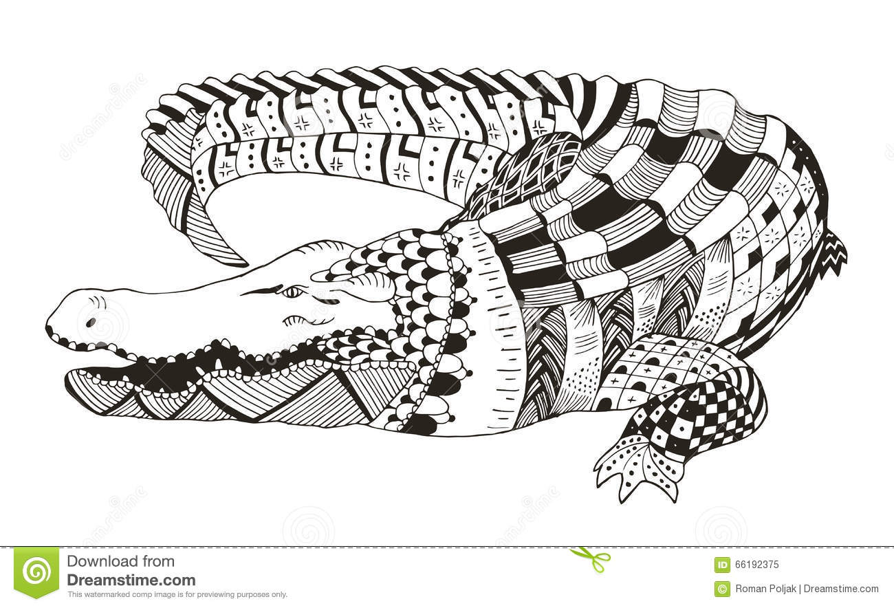 Crocodile Zentangle Stylized Vector