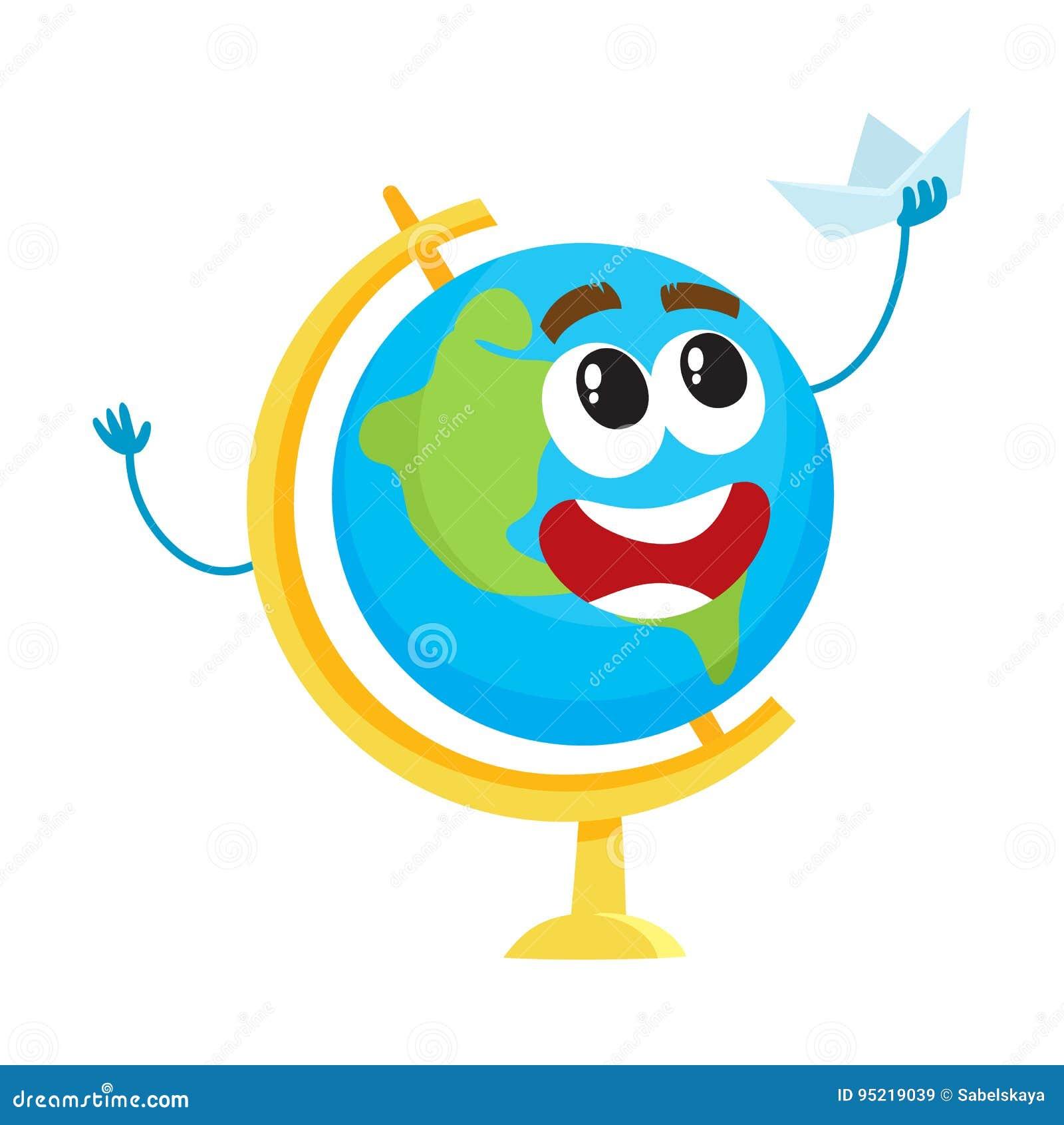 7c438517cb Carattere sveglio e divertente del globo della scuola con il crogiolo  sorridente di carta del giocattolo della tenuta del viso umano,  illustrazione di ...