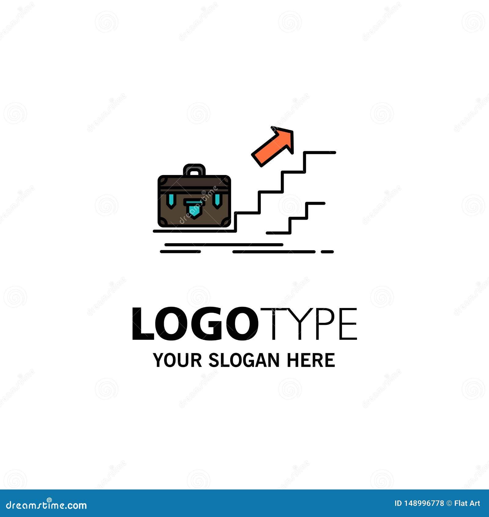 Croissance, affaires, carrière, chef, direction, personnelle, affaires Logo Template de succès couleur plate