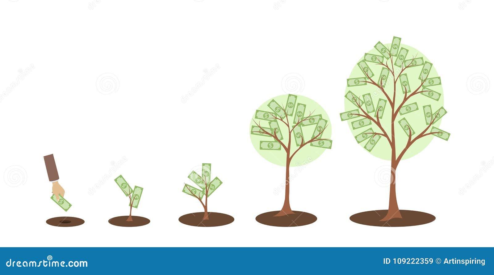 croissance d 39 arbre d 39 argent illustration de vecteur illustration du affaires croissance. Black Bedroom Furniture Sets. Home Design Ideas