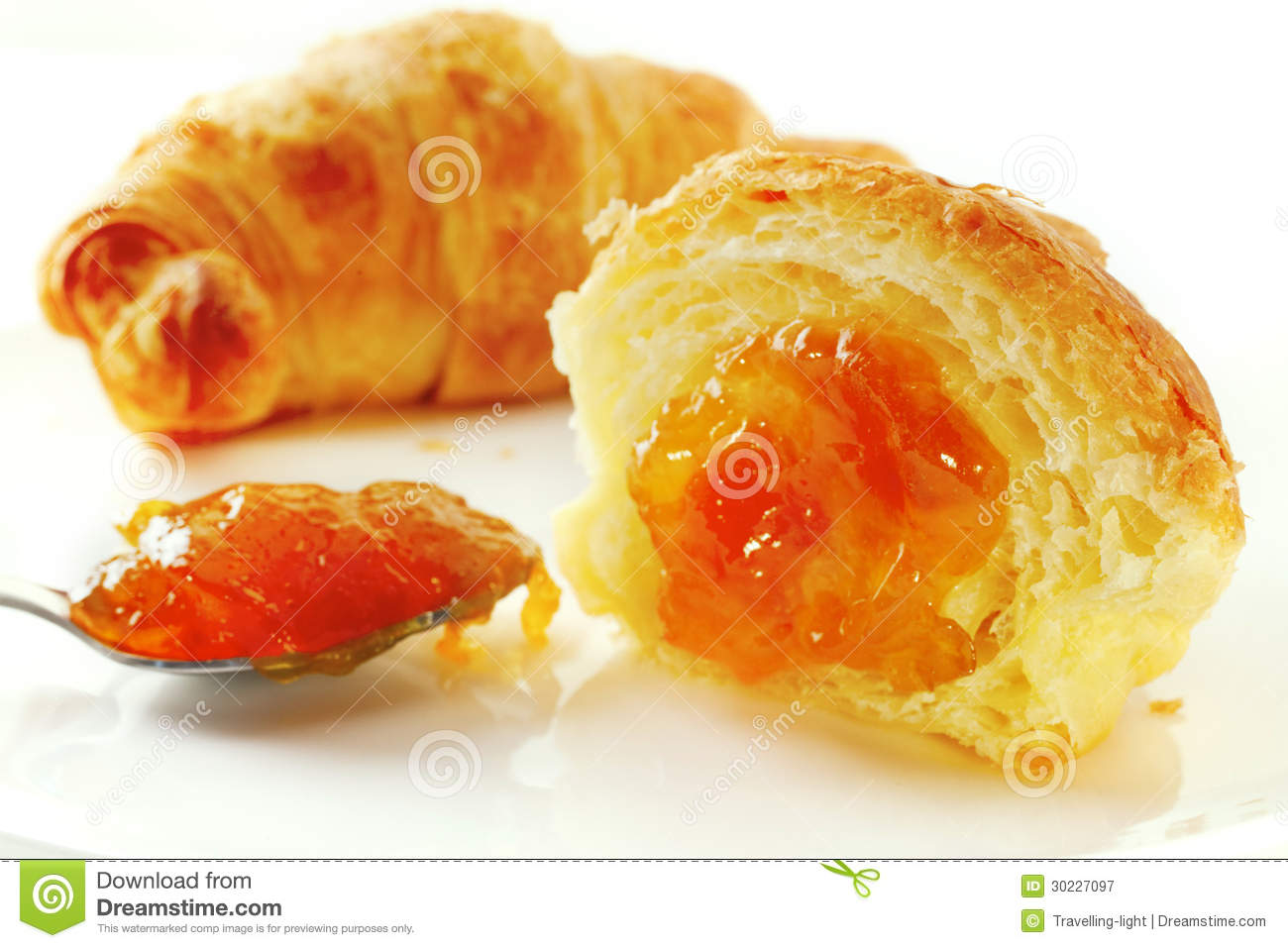 Croissant And Apricot Jam Royalty Free Stock Photography - Image ...