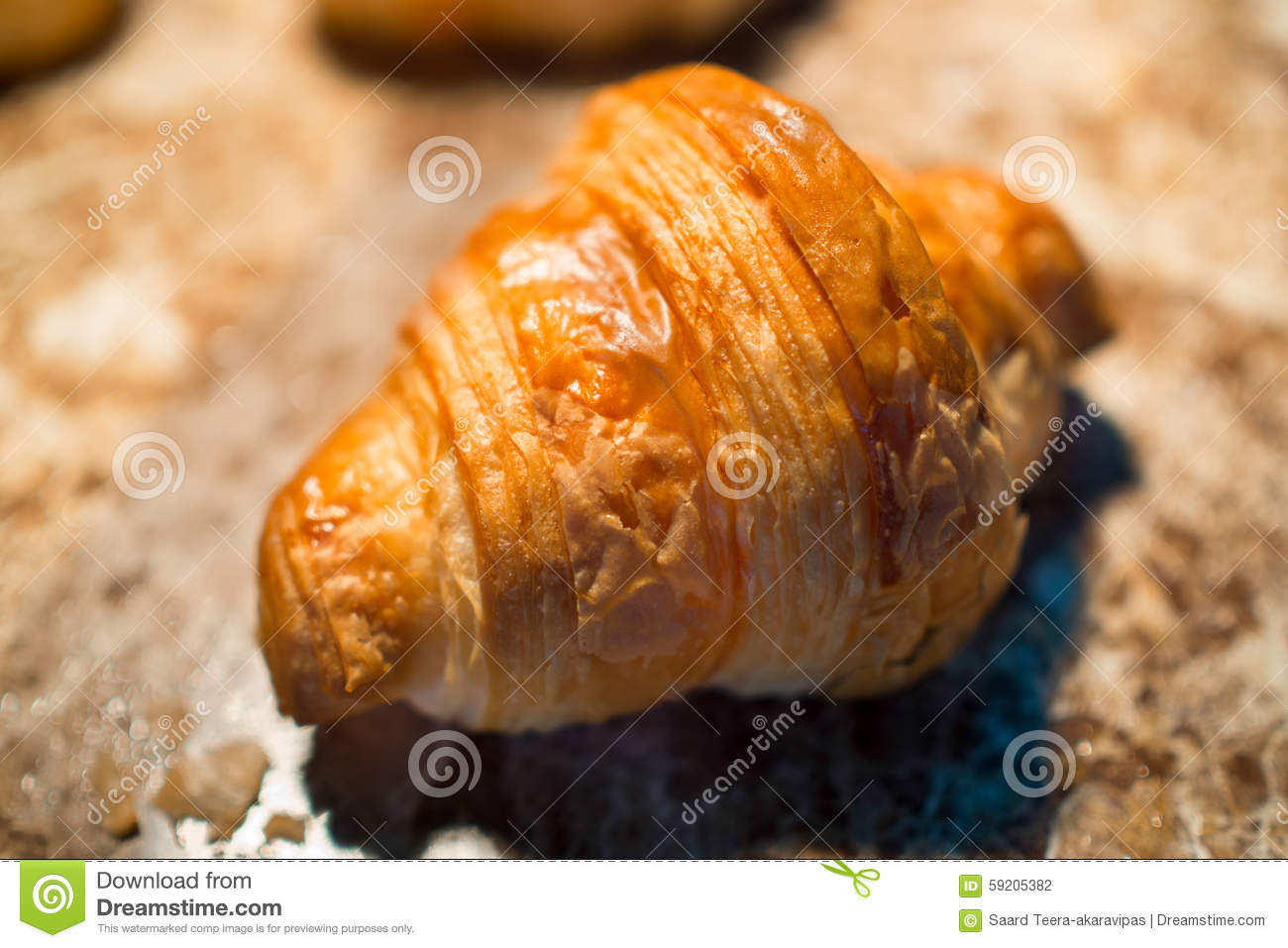 Croissant, bakery palatable in close-up